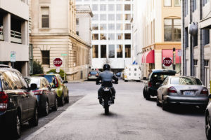 Motorcycle driving down Tacoma street